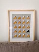 Cadre Origami multi-cocottes moutardes fond graphique - Format 40x50cm