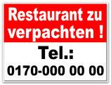 Zu Verpachten Schild mit Ihrer Telefonnummer B 300 x H 400 mm