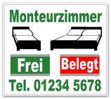 Monteurzeimmer + TelNr. Frei / Belegt