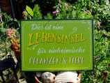 1 Lebensinsel-Schild aus Holz, lackiert