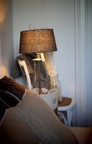 L'HOTEL LAMPE CHROM L INKL. LEINEN LAMPENSCHIRM GRAU