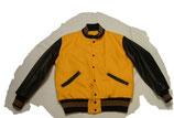 ウールx袖革 セットインスリーブ ゴールドx黒