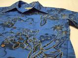 オリジナル'40S アロハハワイxゴールド縁取り 青 綿