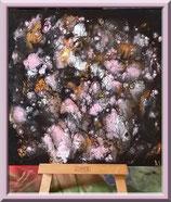 Bouquet rose et or - peinture abstraite