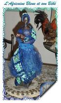 MME-MAS-BLE-01 -  Mme Massaï en bleu - statuette