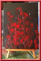 Bouquet rouge - peinture abstraite