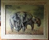 Les deux éléphants - tableau 3D