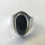 Ring, echt Silber, mit schwarzem Onyx Stein