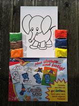 """großes Set Sandbild """"Elefant"""""""
