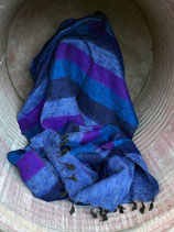 Nepal Decke - blau gestreift