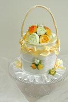 エレガントバック型1段おむつケーキ(イエロー×ホワイト)