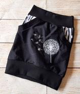 Taschenrock schlicht schwarz mit  hochwertiger Pusteblumenstickerei Gr. 98/104