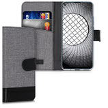 Wallet Case Hülle Huawei Nova 5T Canvas Grau-Schwarz