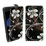 Ledertasche Sony Xperia Z1 Compact Blumen Schwarz