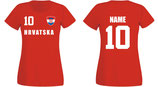Kroatien WM 2018 T-Shirt Damen Rot
