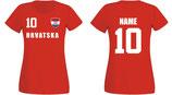 Kroatien WM 2018 T-Shirt Damen Rot
