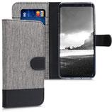 Wallet Case Samsung Galaxy A8 2018 Canvas Grau-Schwarz