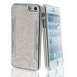 Hard Case Chrom für iPhone 5 Slim Cover Weiss-Silber