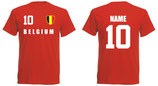Belgien WM 2018 T-Shirt Druck/Name Rot