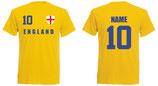 England WM 2018 T-Shirt Druck/Name Gelb