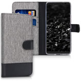 Wallet Case Hülle HTC U12+ Canvas Grau
