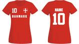 Dänemark WM 2018 T-Shirt Damen Rot