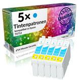 5x Tintenpatronen Epson T0712 Cyan