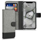 Wallet Case Apple iPhone 11 Canvas Grau-Schwarz