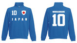 Japan Pullover WM 2018 Druck/Name Blau