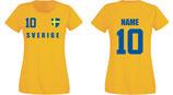 Schweden WM 2018 T-Shirt Damen Gelb