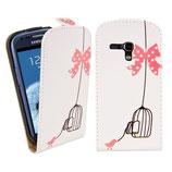 Flip Leder Tasche Samsung Galaxy S3 Mini Weiss Vogel Käfig