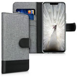 Wallet Case Huawei Mate 20 Lite Canvas Grau-Schwarz