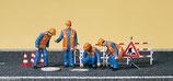 Preiser 10445 Kanalarbeiter Absperrung Kanaldeckel H0
