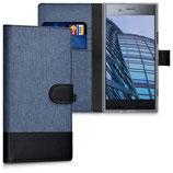 Wallet Case Xperia XZ Premium Canvas Dunkelblau-Schwarz