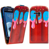 Leder Tasche Samsung Galaxy S3 Mini Eis Ice Cream Case