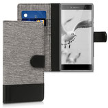 Wallet Case Sony Xperia XA2 Ultra Canvas Grau-Schwarz