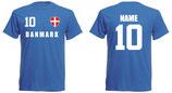 Dänemark WM 2018 T-Shirt Druck/Name Blau