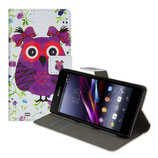 Ledertasche Sony Xperia Z1 Compact Eule Lila