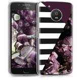 TPU Case Hülle Motorola Moto G5 Blumen Streifen