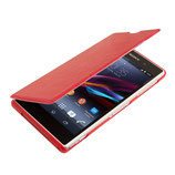 Leder Flip Hülle Sony Xperia Z1 Rot