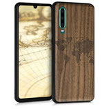 Holz Case Hülle Huawei P30 Weltkarte