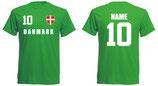 Dänemark WM 2018 T-Shirt Druck/Name Grün
