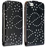 Flip Leder Case Strass Look für iPhone 5 Schwarz Tasche