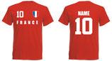 Frankreich WM 2018 T-Shirt Druck/Name Rot