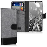 Wallet Hülle Huawei P Smart (2019) Canvas Grau-Schwarz