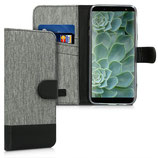 Wallet Case Samsung Galaxy J6 Canvas Grau-Schwarz
