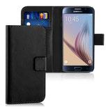Wallet Ledertasche Samsung Galaxy S6 Schwarz