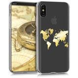 TPU Case Apple iPhone X Weltkarte Gold