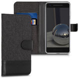 Wallet Case Hülle Google Pixel 2 Canvas Anthrazit Schwarz