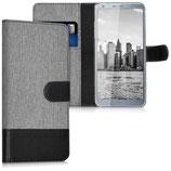 Wallet Case Hülle LG G6 Canvas Grau-Schwarz